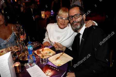 """Patricia Arquette, Eric White. Patricia Arquette, winner of the award for outstanding supporting actress in a limited series or movie for """"The Act,"""" left, and Eric White attend the 71st Primetime Emmy Awards Governors Ball, at the Microsoft Theater in Los Angeles"""