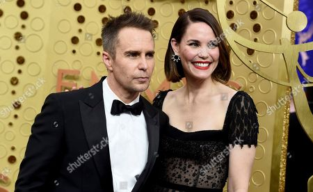 Sam Rockwell, Leslie Bibb. Sam Rockwell, left, and Leslie Bibb arrive at the 71st Primetime Emmy Awards, at the Microsoft Theater in Los Angeles