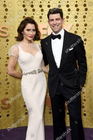 Stock Picture of Tess Sanchez, Max Greenfield. Tess Sanchez, left, and Max Greenfield arrive at the 71st Primetime Emmy Awards, at the Microsoft Theater in Los Angeles