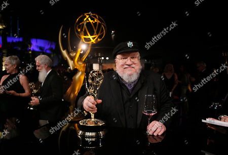 "Stock Image of George R. R. Martin, winner of the award for outstanding drama series for ""Game of Thrones"" attends the Governors Ball winners circle at the 70th Primetime Emmy Awards, at the Microsoft Theater in Los Angeles"