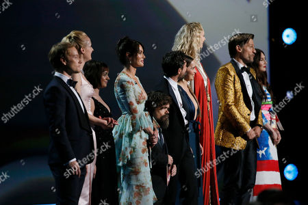 Stock Image of Alfie Allen, Sophie Turner, Maisie Williams, Lena Headey, Kit Harington, Emilia Clarke, Peter Dinklage, Gwendoline Christie, Nikolaj Coster-Waldau, Carice van Houten. Alfie Allen, from left, Sophie Turner, Maisie Williams, Lena Headey, Kit Harington, Emilia Clarke, Peter Dinklage, Gwendoline Christie, Nikolaj Coster-Waldau, Carice van Houten the award for outstanding supporting actress in a limited series or movie at the 71st Primetime Emmy Awards, at the Microsoft Theater in Los Angeles