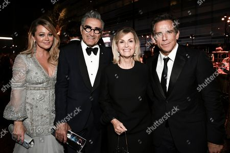 Christine Taylor, Eugene Levy, Deborah Divine, Ben Stiller. Christine Taylor, from left, Eugene Levy, Deborah Divine and Ben Stiller attend the 2019 Primetime Emmy Awards Governors Ball at the Microsoft Theater, in Los Angeles