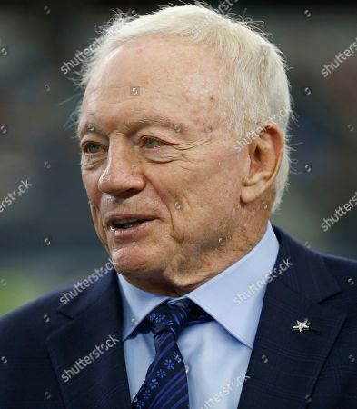 Dallas Cowboys over Jerry Jones stands on the sideline prior to a NFL football game against the Miam Dolphins, in Arlington, Texas