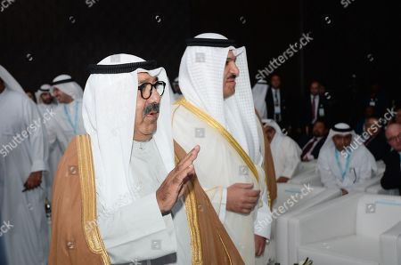 Sheikh Nasser Sabah Al-Ahmad Al-Sabah (L), the Deputy Prime Minister and Minister of Defense (L), and Mohammad Y. Al-Hashel (R), the Governor of the Central Bank of Kuwait, arrive to attend the International Banking Conference in Kuwait City, Kuwait, 23 September 2019.