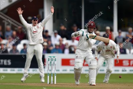 Wicket - Steve Davies of Somerset is trapped lbw by Sam Cook of Essex during the Specsavers County Champ Div 1 match between Somerset County Cricket Club and Essex County Cricket Club at the Cooper Associates County Ground, Taunton