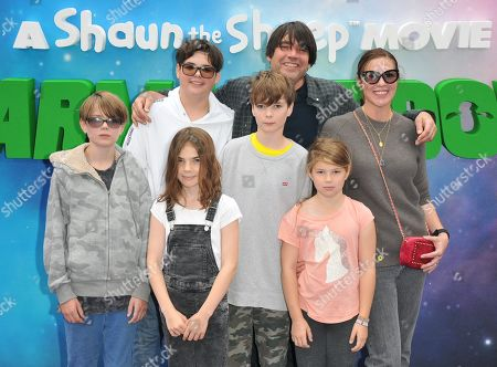 Stock Picture of Alex James, Claire Neate and their 5 children