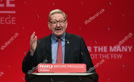 General Secretary of Unite the Union, Leonard David McCluskey delivers a speech on the third day of the the Labour Party Conference in Brighton, Britain, 23 September 2019.  The Labour Party Conference runs from 21 to 25 September.