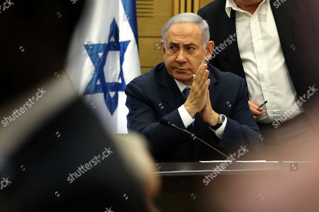 Stock Picture of Acting Israeli Prime Minister and leader of the Likud party Benjamin Netanyahu attends his party faction meeting at the Knesset in Jerusalem, Israel, 23 September 2019. The Israel political scene remains marred by uncertainty after the 17 September election in which the Blue and White alliance led by Benny Gantz won 33 seats, outdoing the right-wing party of Likud presided by the current acting premier Benjamin Netanyahu, who had to settle for 31 seats. Avigdor Lieberman party will have a key role in forming the government coalition, as its eight seats could shift the balance towards Gantz or Netanyahu.