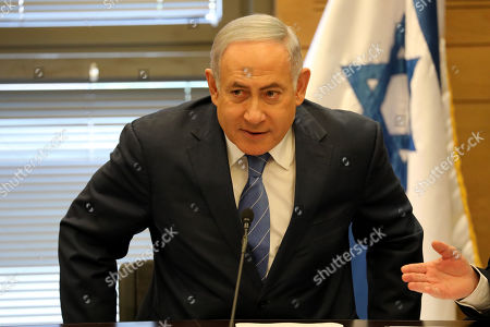 Acting Israeli Prime Minister and leader of the Likud party Benjamin Netanyahu attends his party faction meeting at the Knesset in Jerusalem, Israel, 23 September 2019. The Israel political scene remains marred by uncertainty after the 17 September election in which the Blue and White alliance led by Benny Gantz won 33 seats, outdoing the right-wing party of Likud presided by the current acting premier Benjamin Netanyahu, who had to settle for 31 seats. Avigdor Lieberman party will have a key role in forming the government coalition, as its eight seats could shift the balance towards Gantz or Netanyahu.