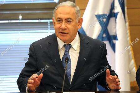 Acting Israeli Prime Minister and leader of the Likud party Benjamin Netanyahu (C) attends his party faction meeting at the Knesset in Jerusalem, Israel, 23 September 2019. The Israel political scene remains marred by uncertainty after the 17 September election in which the Blue and White alliance led by Benny Gantz won 33 seats, outdoing the right-wing party of Likud presided by the current acting premier Benjamin Netanyahu, who had to settle for 31 seats. Avigdor Lieberman party will have a key role in forming the government coalition, as its eight seats could shift the balance towards Gantz or Netanyahu.