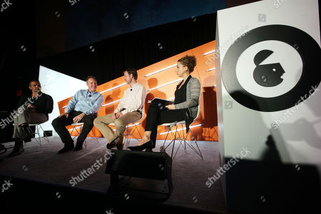 Stock Photo of Elliott Easterling (Co-Founder & CEO, TrueData), JP Beauchamp (SVP, Media Center of Excellence, IRI Worldwide), Duncan McCall (Founder & Chief Executive Officer, PlaceIQ) and Christine Frohlich (VP of Product Management, Experian)