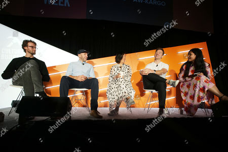 Stock Image of Johannes Quodt (Co-Founder & CEO, Koio), David Heath (Co-Founder & CEO, Bombas), Melissa Mash (CEO & Co-Founder, Dagne Dover), Nate Checketts (Co-Founder & CEO, Rhone), Shareen Pathak (Managing Director, Editorial Products, Digiday)