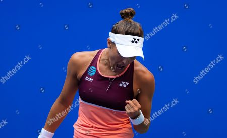 Monica Puig of Puerto Rico in action during the first round