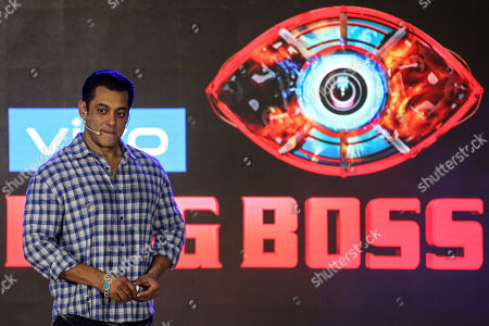Bollywood actor Salman Khan gestures as he speaks with the media during the promotional event of television series Bigg Boss, in Mumbai, India, 23 September 2019. Salman Khan will host the reality show Bigg Boss in the thirteen season. The show is an Indian version of the British big Brother.
