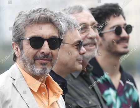 Stock Image of Argentine actors Ricardo Darin (L), Chino Darin (R) and Luis Brandoni (2-R) attend the premiere of the movie 'Heroic Losers', directed by Argentine director Sebastian Borensztein (2-L), at the 67th San Sebastian International Film Festival (SSIFF), in San Sebastian, Spain, 23 September 2019. The festival runs from 20 to 28 September.