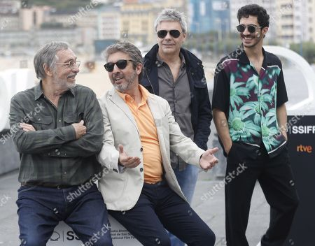 Stock Picture of Argentine actors Ricardo Darin (2-L), Chino Darin (R) and Luis Brandoni (L) attend the premiere of the movie 'Heroic Losers', directed by Argentine director Sebastian Borensztein (2-R), at the 67th San Sebastian International Film Festival (SSIFF), in San Sebastian, Spain, 23 September 2019. The festival runs from 20 to 28 September.