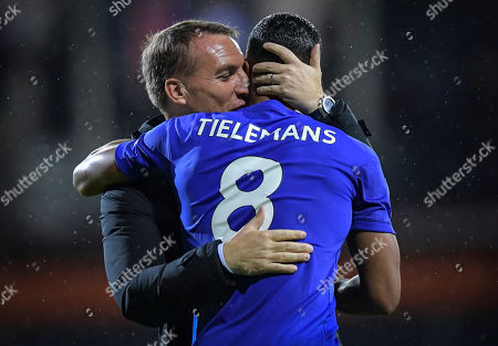 Brendan Rodgers manager of Leicester City congratulates Youri Tielemans of Leicester City