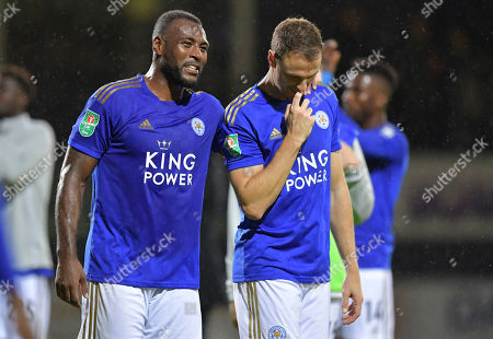 Stock Picture of Wes Morgan of Leicester City and Jonny Evans of Leicester City