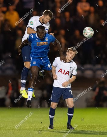Frank Nouble of Colchester United and Eric Dier of Tottenham Hotspur