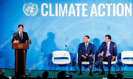 President of France Emmanuel Macron (L) speaks as Emir of Qatar Sheikh Tamim bin Hamad Al Thani (R) and Prime Minister of Jamaica Andrew Holness (2-R) listen during the 2019 Climate Action Summit which is being held ahead of the General Debate of the General Assembly of the United Nations at United Nations Headquarters in New York, New York, USA, 23 September 2019. World Leaders have been invited to speak at the event, which was organized by the United Nations Secretary-General Antonio Guterres, for the purpose of proposing plans for addressing global climate change. The General Debate of the 74th session of the UN General Assembly begins on 24 September.