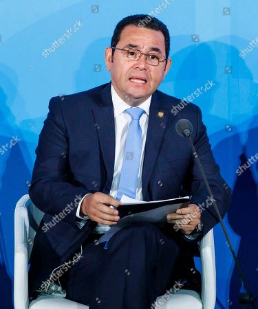 President of Guatemala Jimmy Morales speaks during the 2019 Climate Action Summit which is being held ahead of the General Debate of the General Assembly of the United Nations at United Nations Headquarters in New York, New York, USA, 23 September 2019. World Leaders have been invited to speak at the event, which was organized by the United Nations Secretary-General Antonio Guterres, for the purpose of proposing plans for addressing global climate change. The General Debate of the 74th session of the UN General Assembly begins on 24 September.