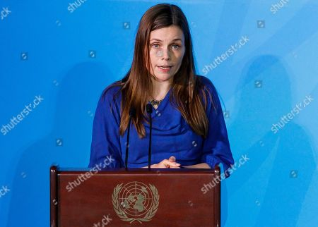 Prime Minister of Iceland Katrin Jakobsdottir speaks during 2019 Climate Action Summit which is being held ahead of the General Debate of the General Assembly of the United Nations at United Nations Headquarters in New York, New York, USA, 23 September 2019. World Leaders have been invited to speak at the event, which was organized by the United Nations Secretary-General Antonio Guterres, for the purpose of proposing plans for addressing global climate change. The General Debate of the 74th session of the UN General Assembly begins on 24 September.