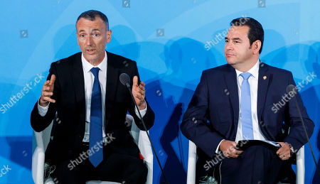 Emmanuel Faber, the Chairman and CEO of Danone, speaks as President of Guatemala Jimmy Morales (R) listens during 2019 Climate Action Summit which is being held ahead of the General Debate of the General Assembly of the United Nations at United Nations Headquarters in New York, New York, USA, 23 September 2019. World Leaders have been invited to speak at the event, which was organized by the United Nations Secretary-General Antonio Guterres, for the purpose of proposing plans for addressing global climate change. The General Debate of the 74th session of the UN General Assembly begins on 24 September.