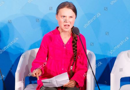 Greta Thunberg, the 16-years-old climate activist from Sweden, addresses world leaders at the start of the 2019 Climate Action Summit which is being held in advance of the General Debate of the General Assembly of the United Nations at United Nations Headquarters in New York, New York, USA, 23 September 2019. World Leaders have been invited to speak at the event, which was organized by the United Nations Secretary-General Antonio Guterres, for the purpose of proposing plans for addressing global climate change. The General Debate of the 74th session of the UN General Assembly begins on 24 September.