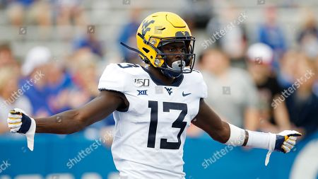 West Virginia wide receiver Sam James during an NCAA football game against Kansas on in Lawrence, Kan
