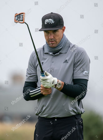 Kevin Pietersen lines up a putt on the 17th green at The Old Course, St. Andrews.