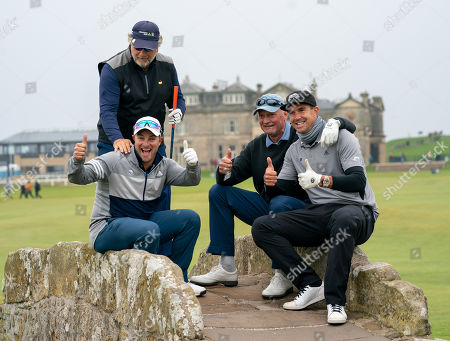 Kevin Pietersen (right) poses with his playing partners Charlie Van Dyk (standing), Mark Boucher (left) & Frank Vivier (2nd right) on the Swilken Bridge at the 18th hole at The Old Course, St. Andrews.