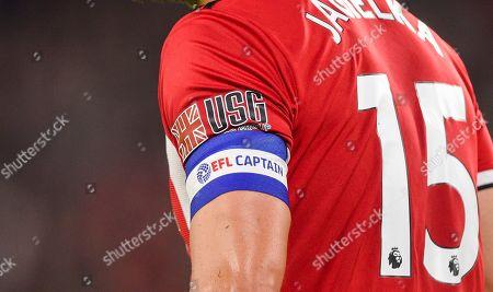 Phil Jagielka of Sheffield United wears the EFL Captains Armband
