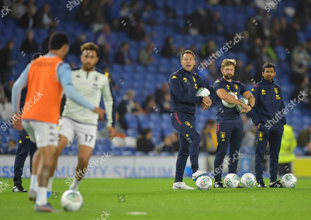 Stock Image of John Terry Coach of Aston Villa gives instructions during the warm up
