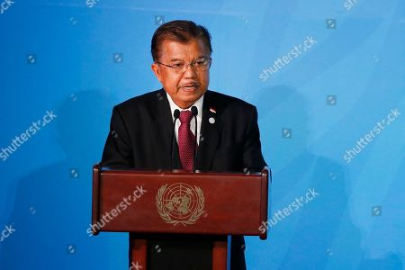 Indonesia's Vice President Jusuf Kalla addresses the Climate Action Summit in the United Nations General Assembly, at U.N. headquarters