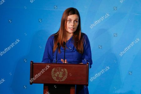 Iceland's Prime Minister Katrin Jakobsdottir addresses the Climate Action Summit in the United Nations General Assembly, at U.N. headquarters