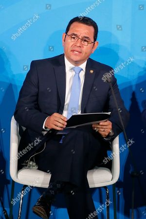 Guatemala's President Jimmy Morales addresses the Climate Action Summit in the United Nations General Assembly, at U.N. headquarters