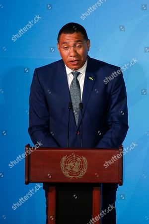 Jamaica's Prime Minister Andrew Holness addresses the Climate Action Summit in the United Nations General Assembly, at U.N. headquarters