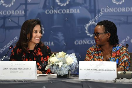 Former counselor to the President of the United States Dina Powell McCormick smiles toward NoWAD Operations Director Fiona Nambaziira Luswata, of Uganda, during the Women's Global Development and Prosperity (W-GDP) Initiative Roundtable, in New York