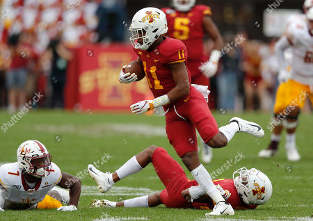 Stock Picture of Zach Jackson, Lawrence White, Anthony Johnson. Iowa State defensive back Lawrence White, center, runs back an interception intend for Louisiana-Monroe wide receiver Zach Jackson, left, after Iowa State defensive back Anthony Johnson, right, tipped the ball during the first half of an NCAA college football game, in Ames