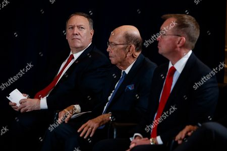 Mike Pompeo, Wilbur Ross, Mick Mulvaney. Secretary of State Mike Pompeo, Commerce Secretary Wilbur Ross, and White House chief of staff Mick Mulvaney listen during a meeting between President Donald Trump and Pakistani President Ashraf Ghani at the InterContinental Barclay hotel during the United Nations General Assembly, in New York