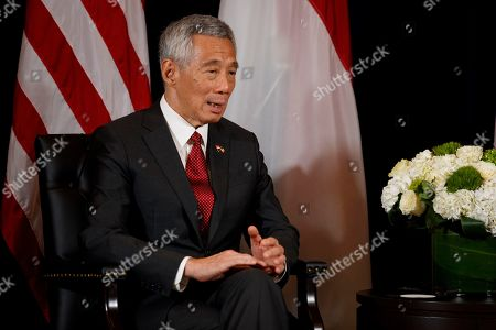 Singapore Prime Minister Lee Hsien Loong speaks during a meeting with President Donald Trump at the InterContinental Barclay hotel during the United Nations General Assembly, in New York