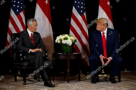 Donald Trump, Lee Hsien Loong. President Donald Trump meets with Singapore Prime Minister Lee Hsien Loong at the InterContinental Barclay hotel during the United Nations General Assembly, in New York