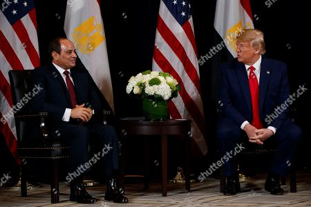 Donald Trump, Abdel-Fattah el-Sisi. President Donald Trump meets with Egyptian President Abdel-Fattah el-Sisi at the InterContinental Barclay hotel during the United Nations General Assembly, in New York