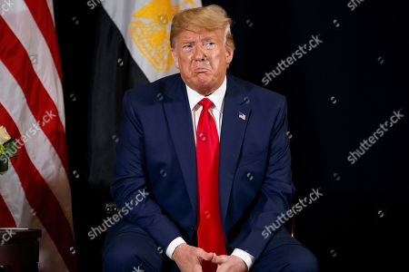 President Donald Trump speaks during a meeting with Egyptian President Abdel-Fattah el-Sisi at the InterContinental Barclay hotel during the United Nations General Assembly, in New York
