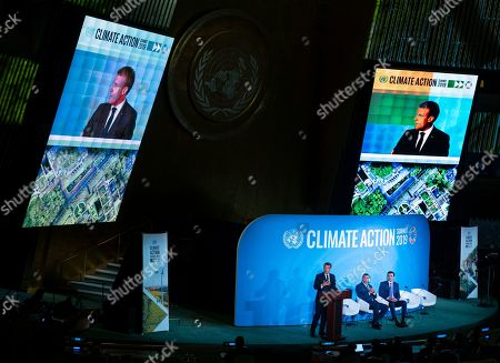 Stock Picture of French President Emmanuel Macron speaks during the Climate Action Summit 2019 at the 74th session of the United Nations General Assembly, at U.N. headquarters, . Emir of Qatar, Sheikh Tamim bin Hamad Al Thani is center and Jamaica Prime Minister Andrew Holness is right