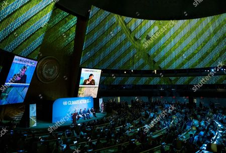Prime Minister of Pakistan, Imran Khan, far right, speaks during the Climate Action Summit 2019 at the 74th session of the United Nations General Assembly, at U.N. headquarters, . From left are: Emmanuel Faber, CEO Danone, Guatemalan President Jimmy Morales, Democratic Republic of Congo President Felix Tshisekedi, Norway's Prime Minister Erna Solberg, and Khan