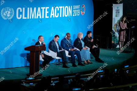 Prime Minister of Pakistan, Imran Khan, seated at right, speaks during the Climate Action Summit 2019 at the 74th session of the United Nations General Assembly, at U.N. headquarters, . From left are: Emmanuel Faber, CEO Danone, Guatemalan President Jimmy Morales, Democratic Republic of Congo President Felix Tshisekedi, Norway's Prime Minister Erna Solberg, and Khan