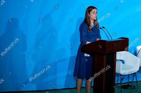 Iceland Prime Minister Katrin Jakobsdottir speaks during the Climate Action Summit 2019 at the 74th session of the United Nations General Assembly, at U.N. headquarters
