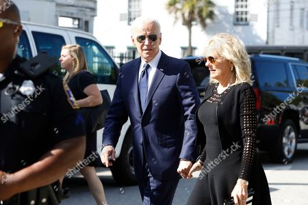 Democratic presidential candidate former Vice President Joe Biden arrives with his wife, Jill, arrive for the homegoing services for Emily Clyburn, wife of Majority Whip Jim Clyburn, in Charleston, S.C