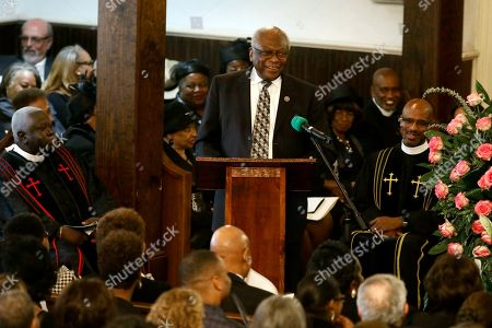 Majority Whip Jim Clyburn recalls a fond memory during the homegoing services for his wife Emily Clyburn, in Charleston, S.C
